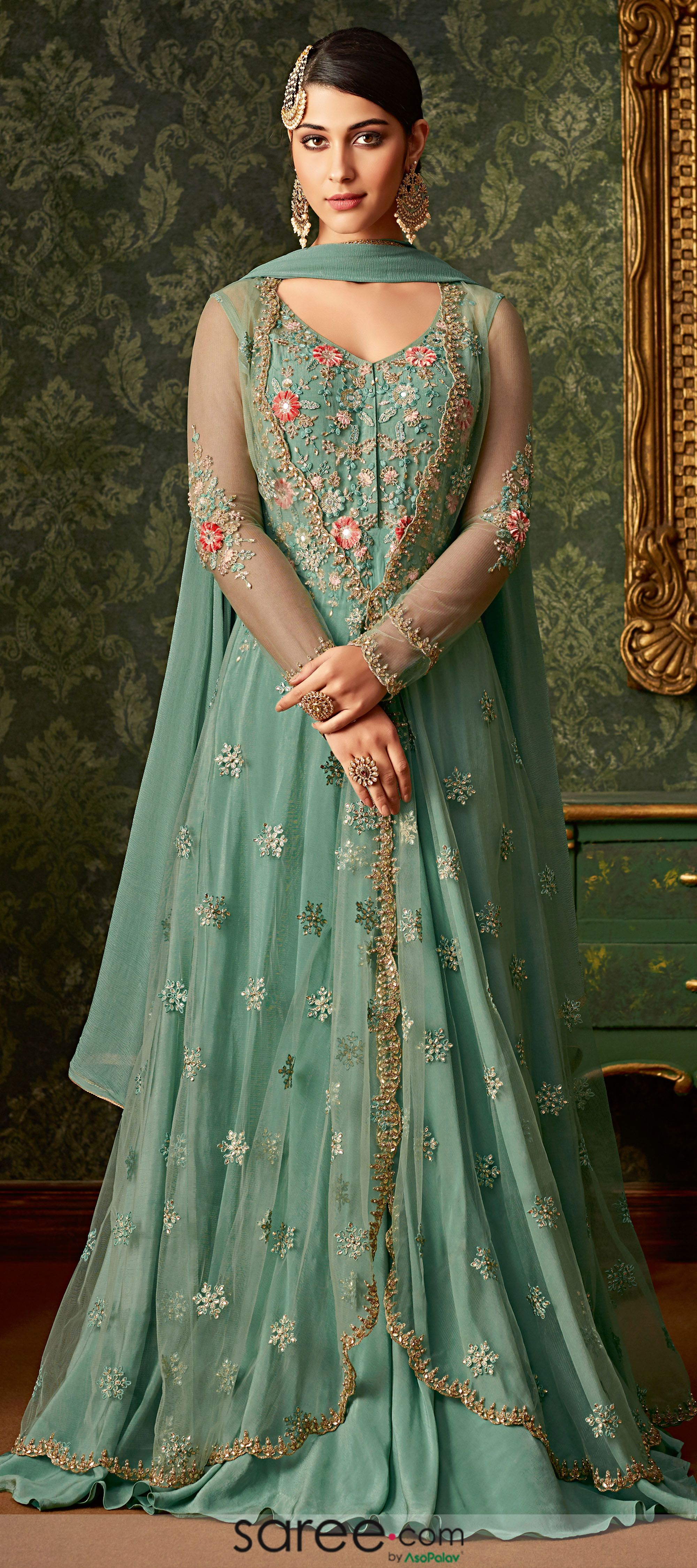 Dark Mint Green Net Designer Embroidered Suit with Long