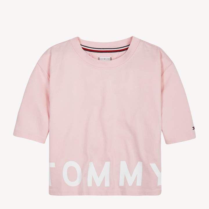 Tommy Hilfiger Girls' Sport Logo Cropped T Shirt Junior