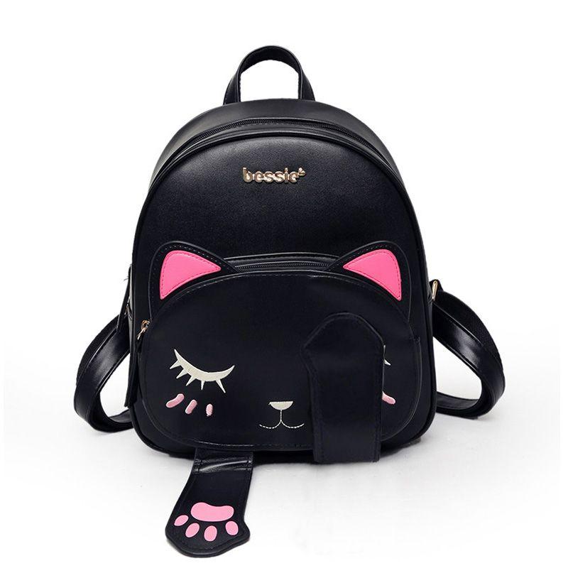 Bolsa Estilo Saco Preta : Gato mochila preta estilo preppy mochilas escolares