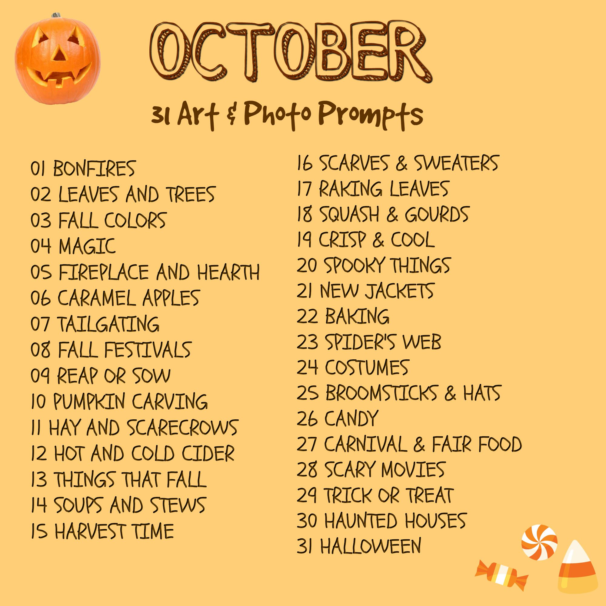 31 Art And Photo Creative Prompts For October