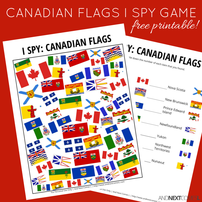 canadian flags i spy game free printable for kids