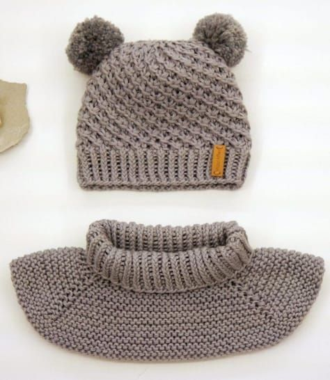 Photo of Knitted children's set with a hat and a shawl collar in a star pattern – knitting …