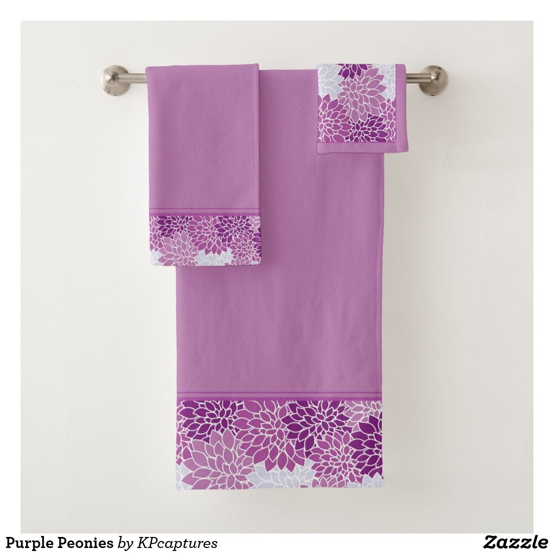 Purple Peonies Bath Towel Set Zazzle Com Towel Set Bath Towel Sets Purple Peonies