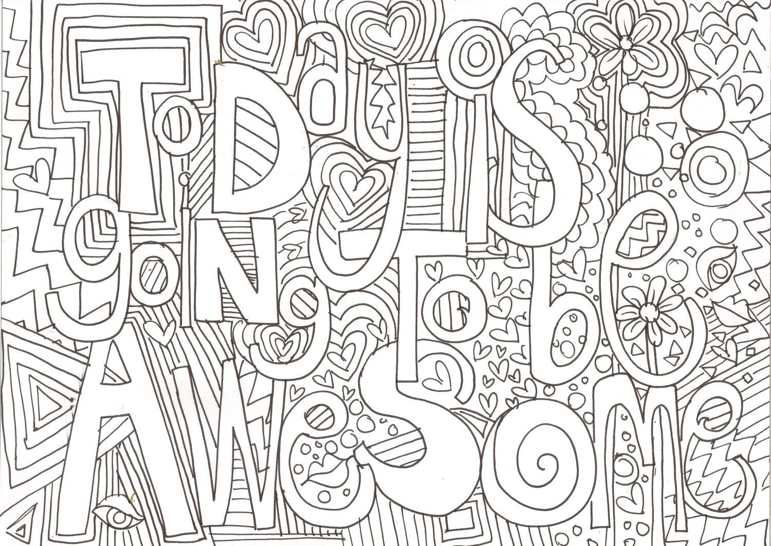 Printable Adult Colouring Page - Love Zendoodle | Love, Colouring ...