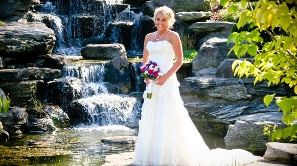 Bride Near Waterfall Wedding At Meijer Gardens Tiberius Images