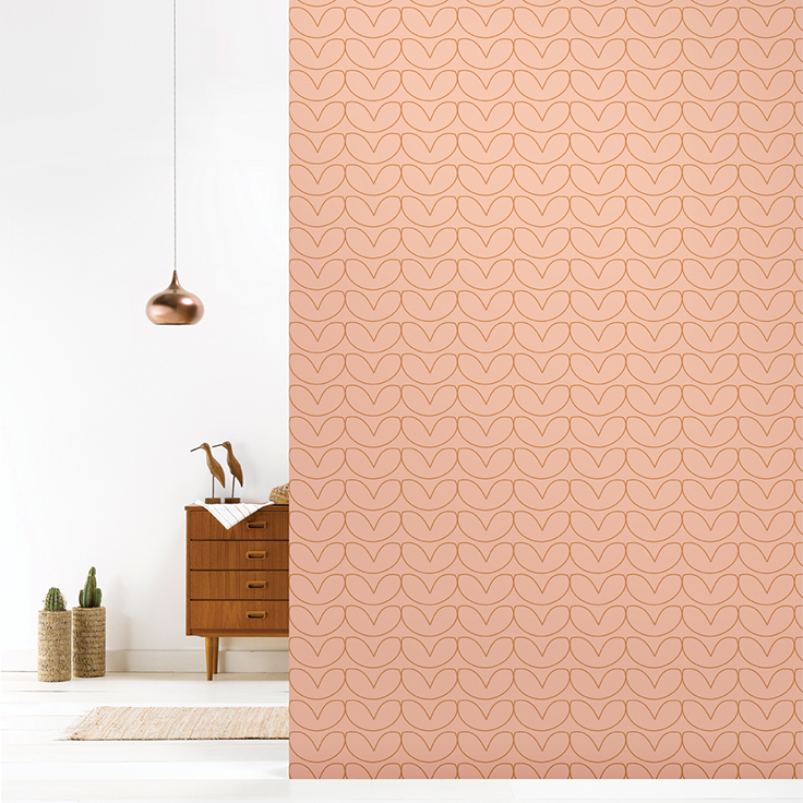 Roomblush behang wallpaper hearts copperblush behangpapier woonkamer ...