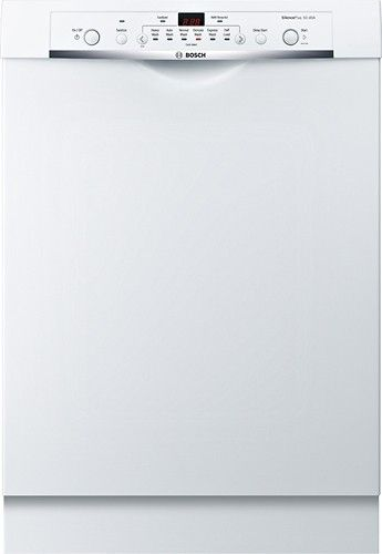 Bosch 100 Series 24 Front Control Tall Tub Built In Dishwasher With Hybrid Stainless Steel Tub White She3ar72uc Best Buy Built In Dishwasher Steel Tub Dishwasher White