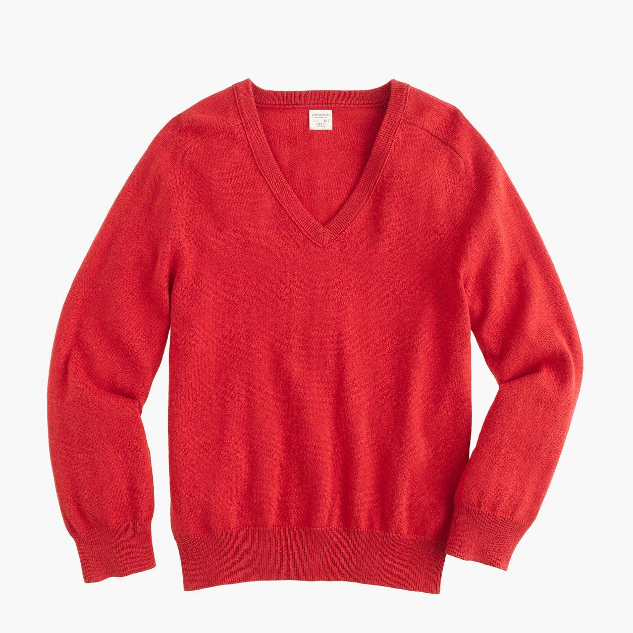 786881154 crewcuts Boys Cotton-Cashmere V-Neck Sweater (Size 6-7 Kid ...