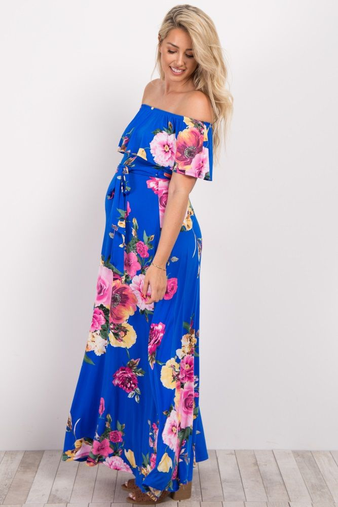 c9f6538220569 A flattering sash tie waist style and off shoulder ruffle trim make this a  flirty and fun dress you will love! With its bold colors and bright floral  ...