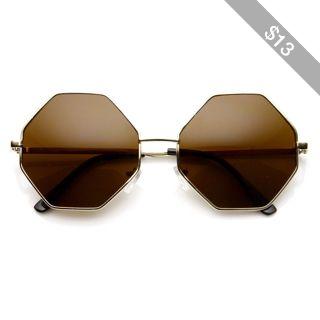 Vintage Fashion Octagonal Geometric Metal Sunglasses 8942