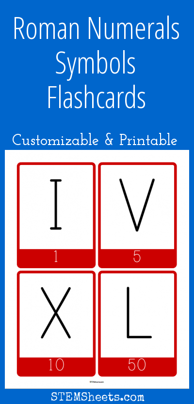 Roman Numerals Symbols Flashcards Customizable And Printable