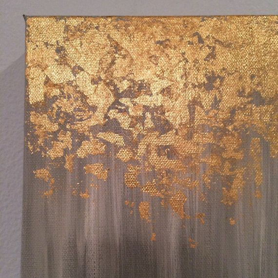 Gold Leaf Wall Paint: Gold Leaf Painting, Abstract Gold Leaf Painting, 8x10 Wall