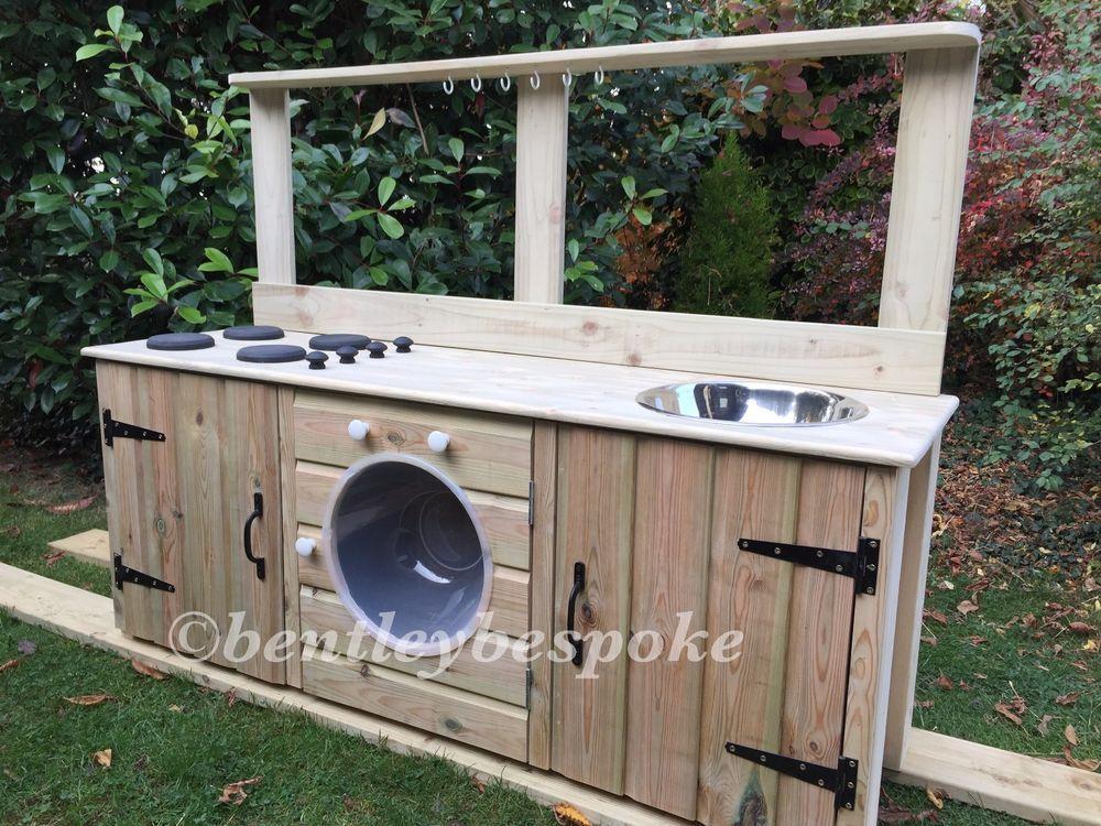 Details about child's wooden mud kitchen washing machine