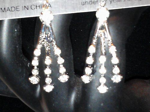 DAZZLING DANGLING CRYSTAL SPARKLE EARRINGS - $19