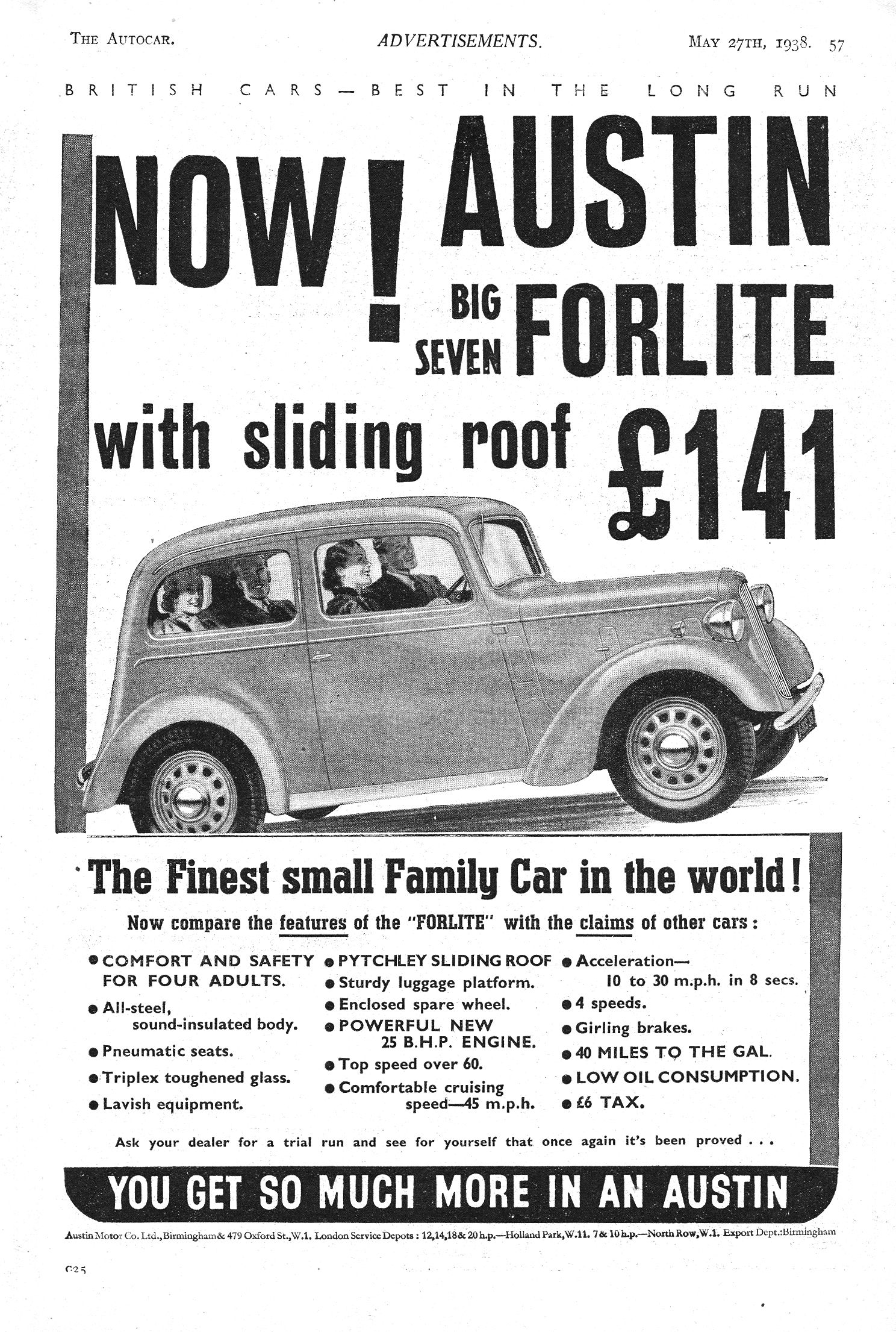 Austin car autocar advert 1938 big seven forlite