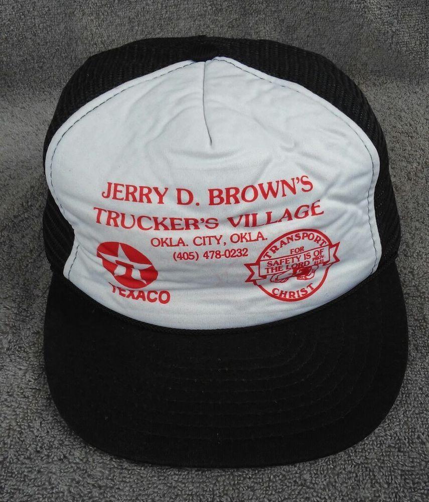 Texaco Hat Cap Jerry D Brown Trucker Village Vtg OKC Snapback 80s Black  White  na  Trucker dfda057e8c5