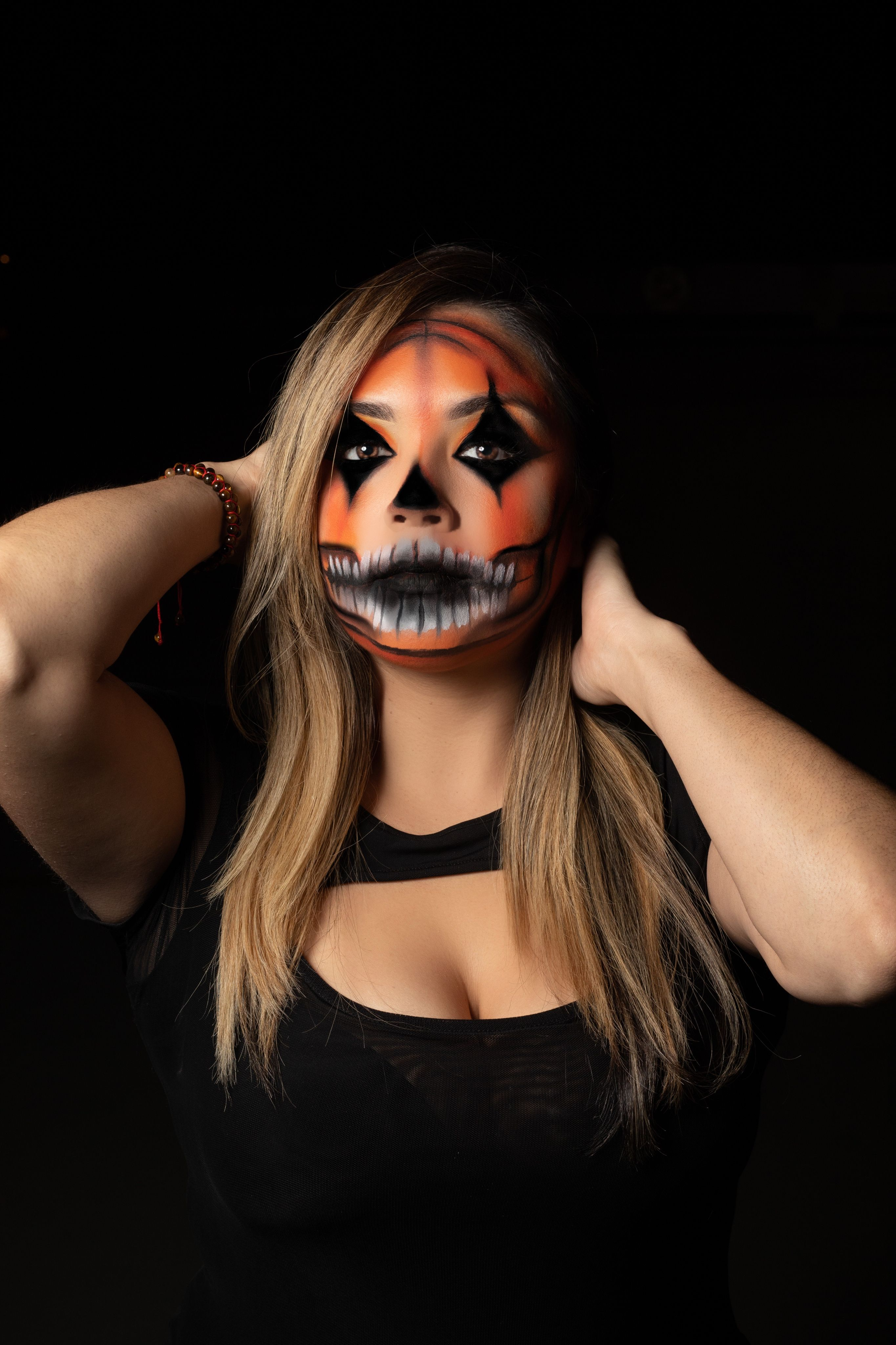 Pumpkin skull makeup created by me. If you guys try this