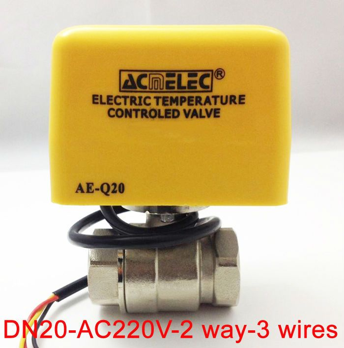 3 4 Ac220v 10 Electric Actuated Valve 3 Wires For Fan Coil