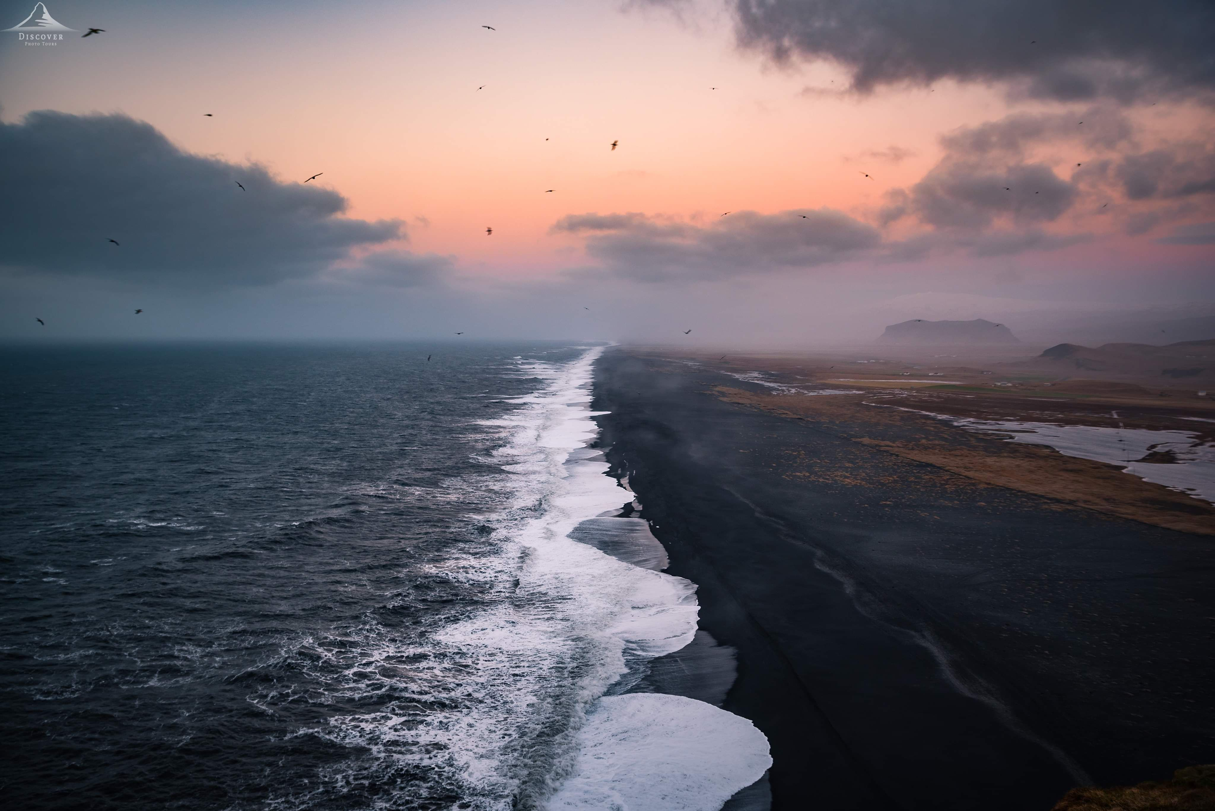 Black Sand Beach At Sunset Iceland In 2020 Black Sand Beach Black Sand Beach Iceland Iceland Black Sand