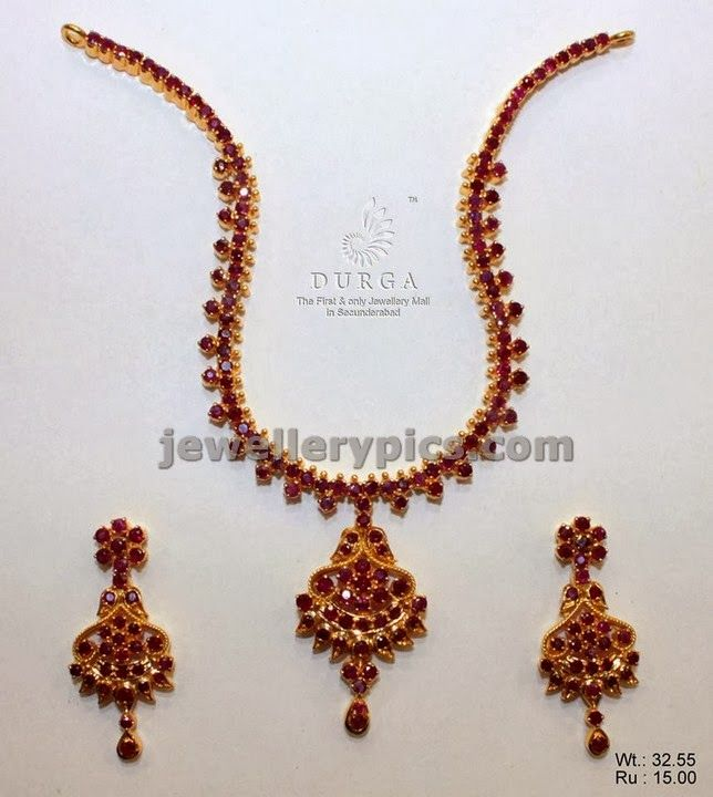 South Indian Traditional Ruby Haram Ruby Necklace Designs Gold