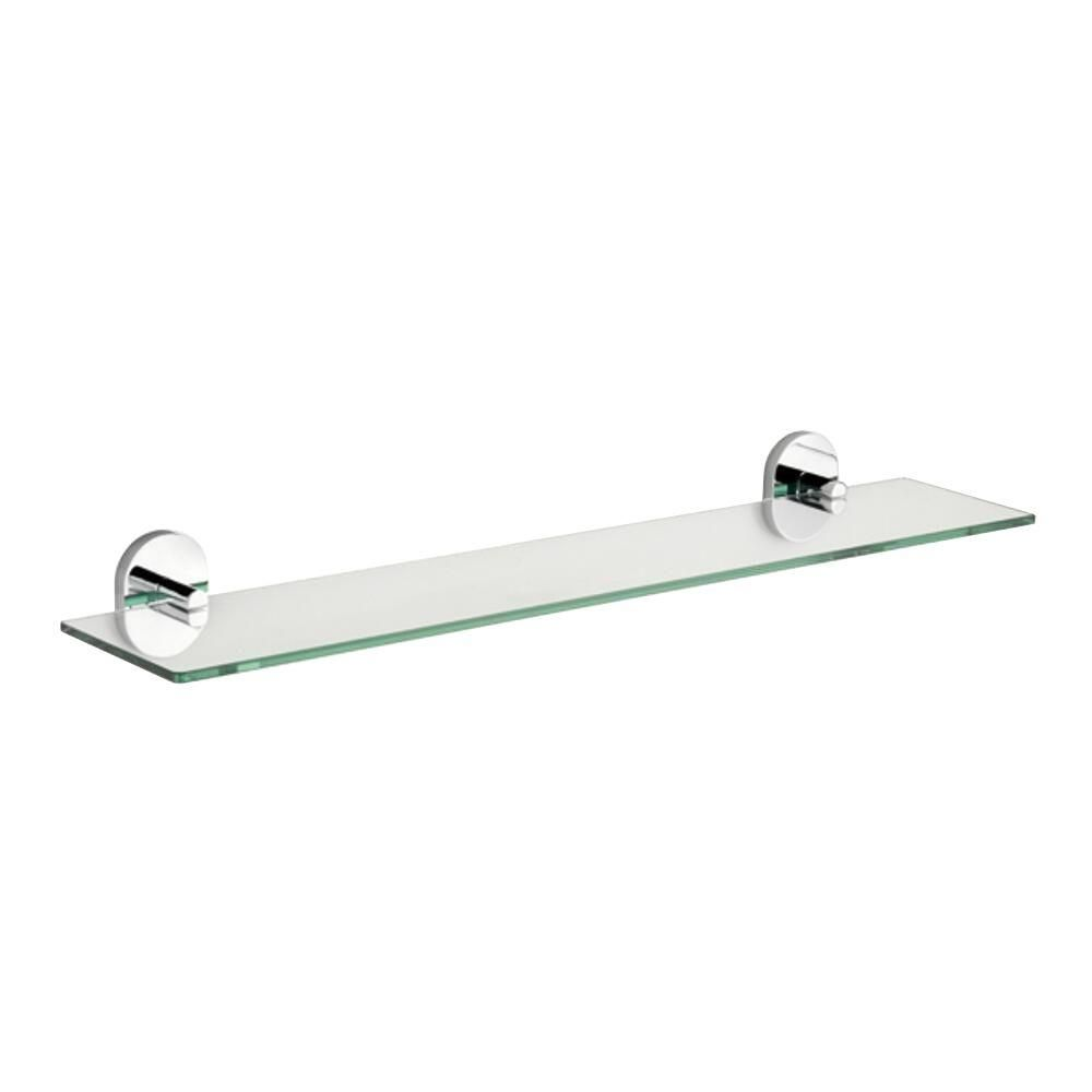 Croydex Pendle 5 28 In L X 2 12 In H X 24 30 In W Wall Mounted Opaque Glass Bathroom Shelf With Flexi Fix In Chrome Qm411441yw The Home Depot Glass Bathroom Shelves Glass Bathroom