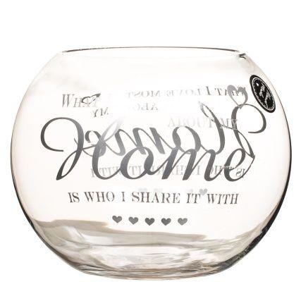 Printed Heart Fish Bowl Vase 20cm Home Fish Bowl Vases Fish Bowl Glass