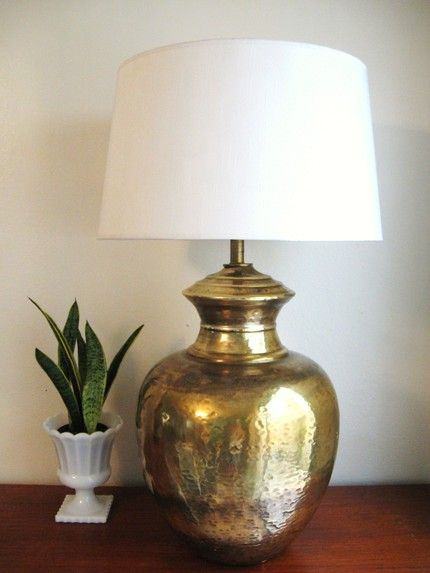 antique brass table lamp with black shade lamps india hammered uk regency urn mess