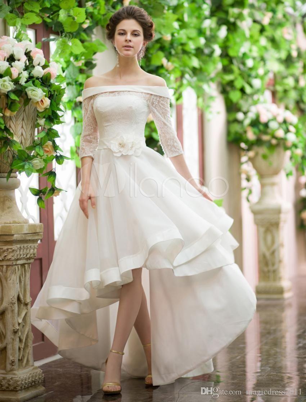 Vintage Style High Low Wedding Dresses Off Shoulder Half Sleeve Flower Belt Lace Wedding Dresses High Low Short Wedding Dress Hi Low Wedding Dress [ 1119 x 850 Pixel ]