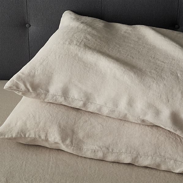 Set Of 2 Lino Flax Linen King Pillowcases Pillow Cases Sheets And Pillowcases Crate And Barrel
