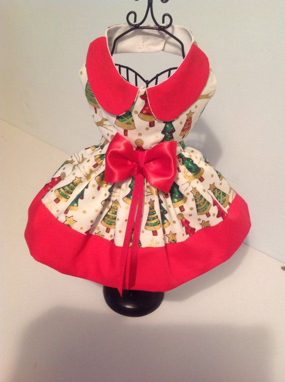 Xmas Cream or Red cotton party dress for all small breed dogs  c6f62db21