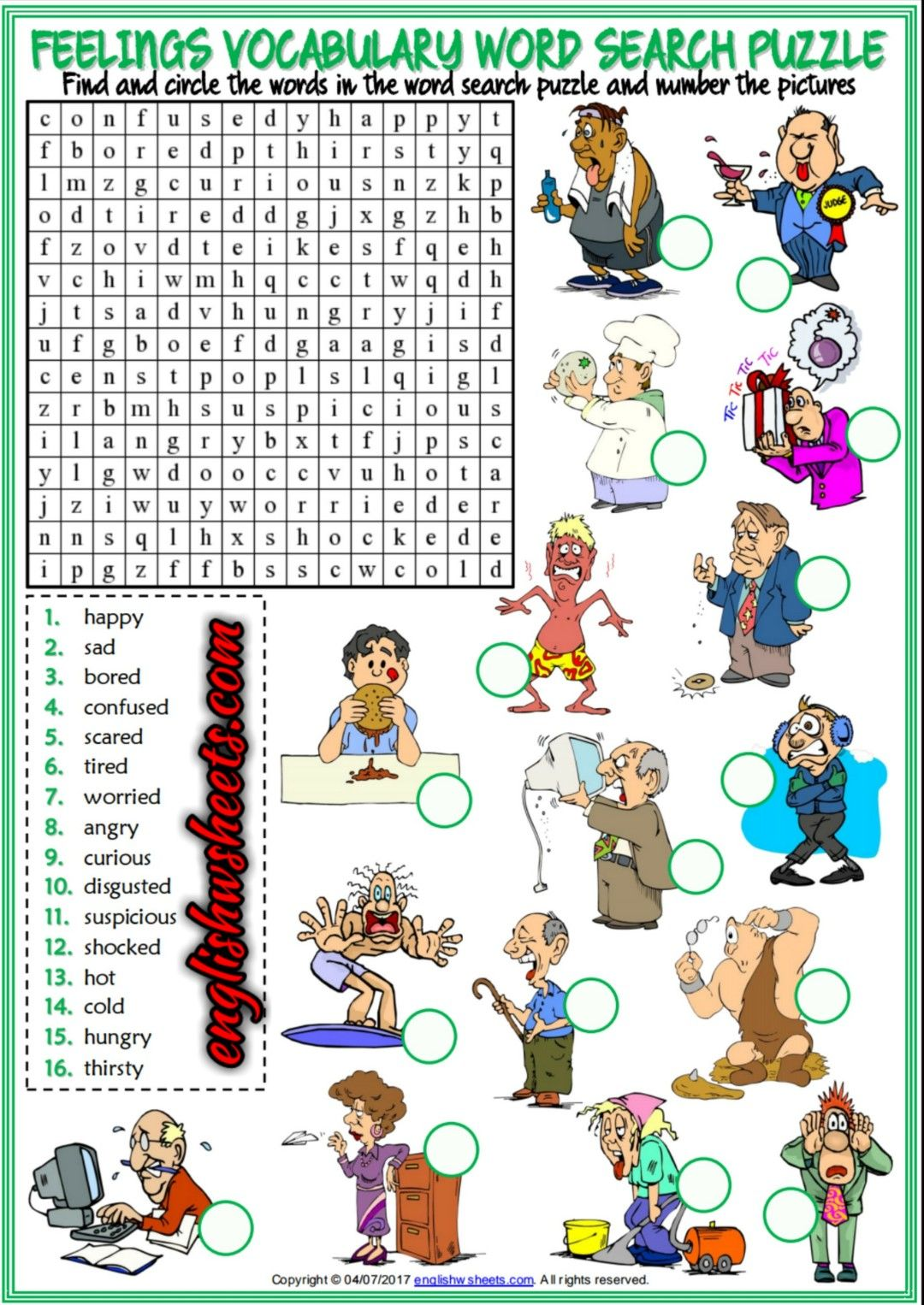 Feelings Esl Printable Vocabulary Worksheets