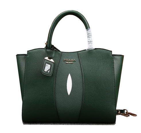 Prada Calfskin Leather Tote Bag BN6606 Green  8f4950e404276