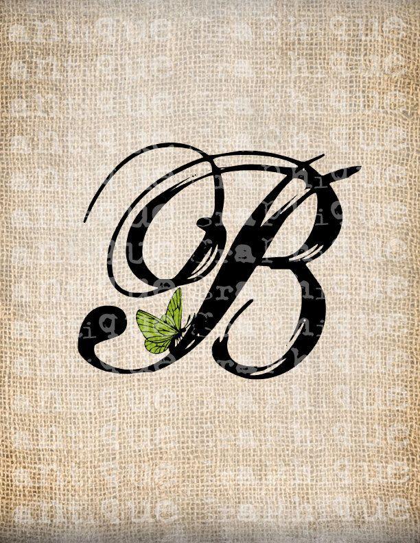Antique Letter B Script Monogram With By AntiqueGraphiqueAged 100