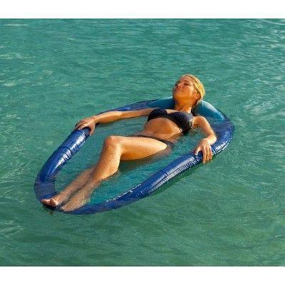 Blue Kelsyus Floating Hammock Inflatable Swimming Pool Float Lounger Raft
