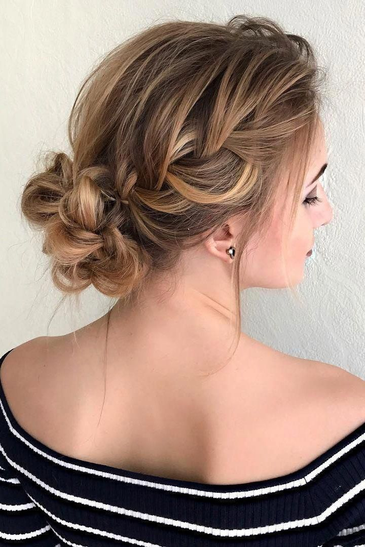 braided with messy updo wedding hairstyle #weddinghairstyle #hairstyle #braidedupdo #braids # ...