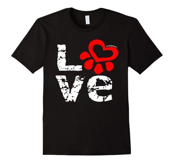 Men's Dog Love Paw - Animal Lover - RED Love PawT Shirt - #dogmom #ilovedogs #dogs #ilovemydog