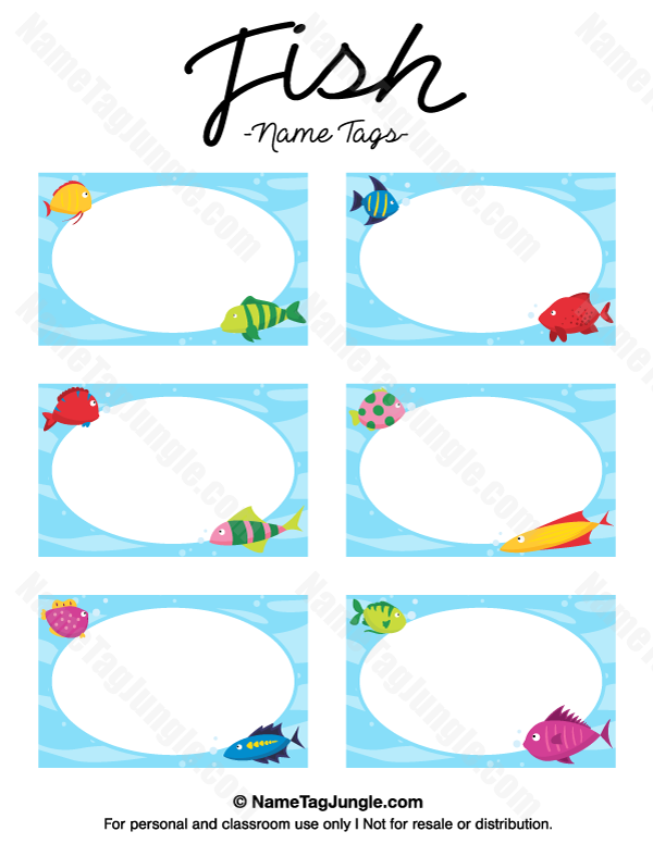 free printable fish name tags the template can also be used for creating items like