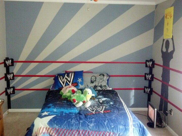 wwe room. ring, and traced silhouettes of our 7 year old as a super