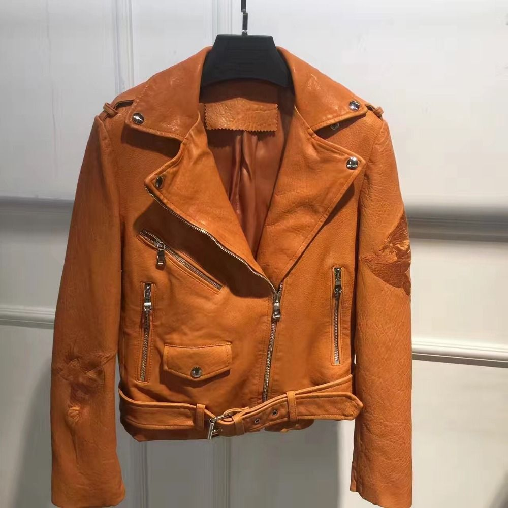 Hot Sale Real Sheep Leather Jacket Genuine Leather Black Bule Orange Color Lady Spring Autumn Fashion Ou Leather Jacket Leather Jackets Women Jackets For Women [ 1000 x 1000 Pixel ]