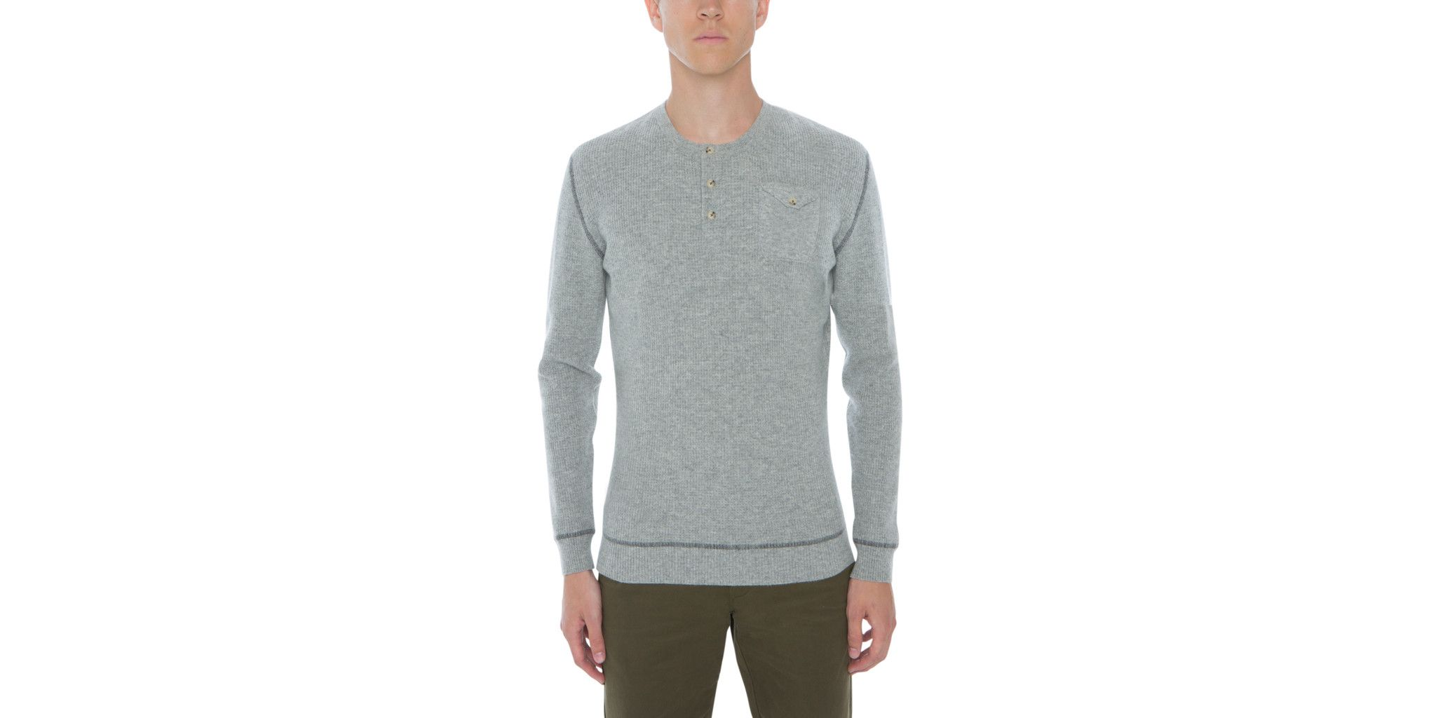 The henley collar sweater in pure cashmere, worked in a soft single tread is inspired by traditional English rowing heritage. Naadam's taste is reiterated in th
