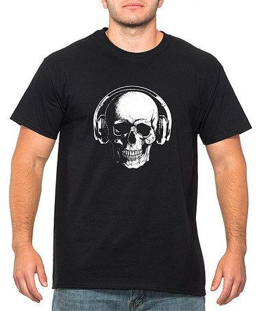 Loving this Black Skull & Headphones Crewneck Tee - Men's Regular on #zulily! #zulilyfinds