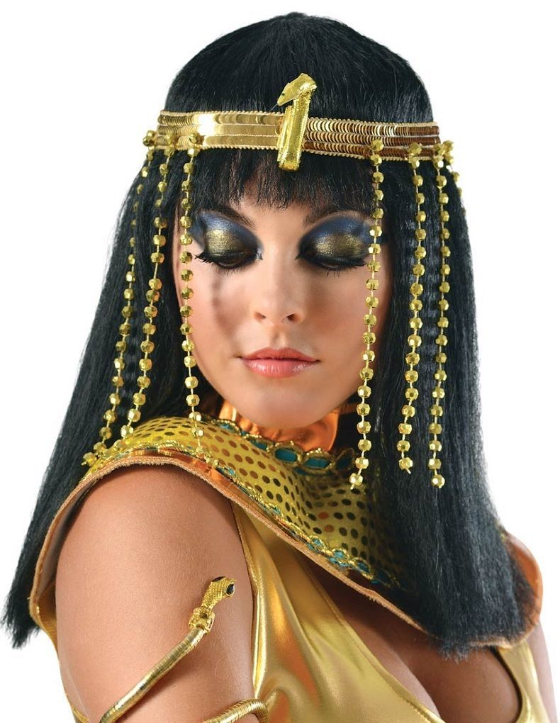 Dress up Egypt Queen Gold Snake Headband Sequin Crown Party Nile Nefertiti