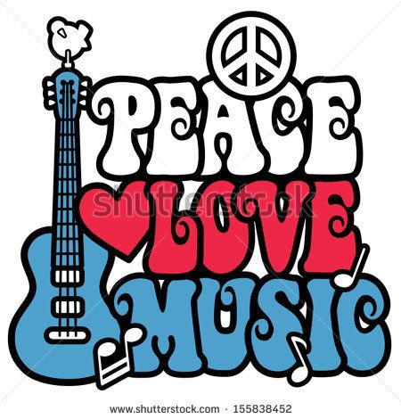 Peace Love Music Text Design With Peace Symbol Guitardove Heart