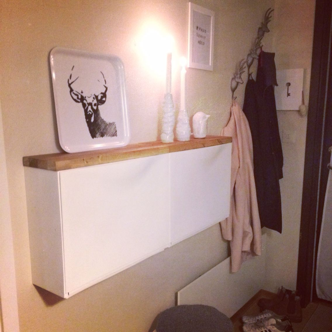 Storage for narrow hallway  miss leuk met een spiegel erboven  Living Places  Pinterest  Ikea