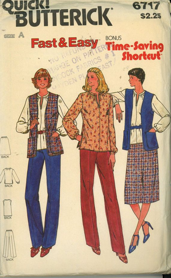 Vintage 1970s Butterick 6717 fast & easy vest, tunic, skirt, pants sewing pattern size 14 1/2-16 1/2- 18 1/2 Uncut