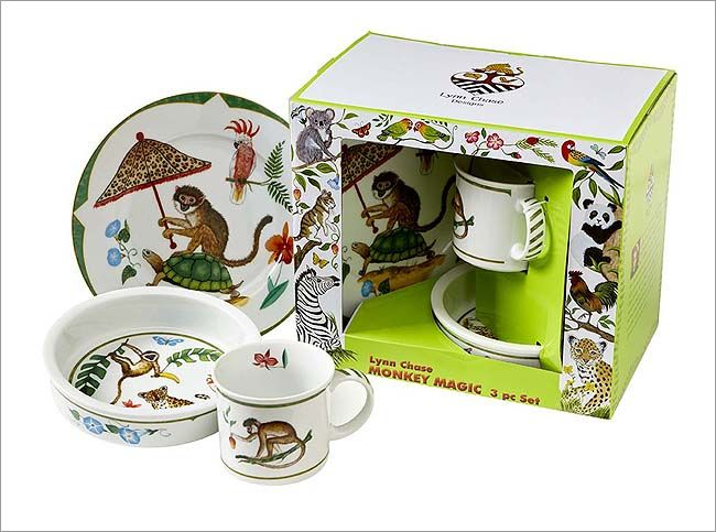 Lynn Chase Monkey Magic Porcelain 3-Piece Set: Children will delight in these whimsical menageries that are beautifully packaged.The magic of monkeys is that they are able to persuade tortoises to carry them throughoutthe jungle to visit their friends as depicted in Monkey Magic.