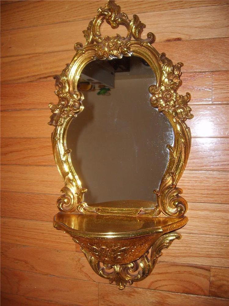 Homco Syroco Home Interior Wall Decor Mirror Shelf Gold Scrolling Amazing Home Interiors Wall Decor