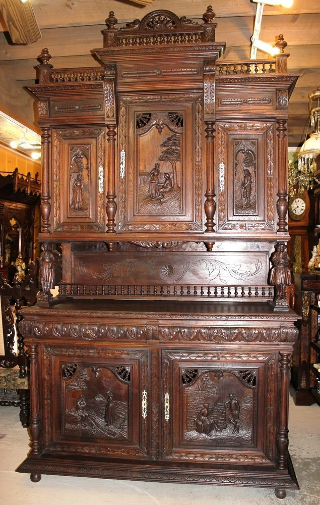 Exquisite French Antique Carved Oak Brittany Buffet