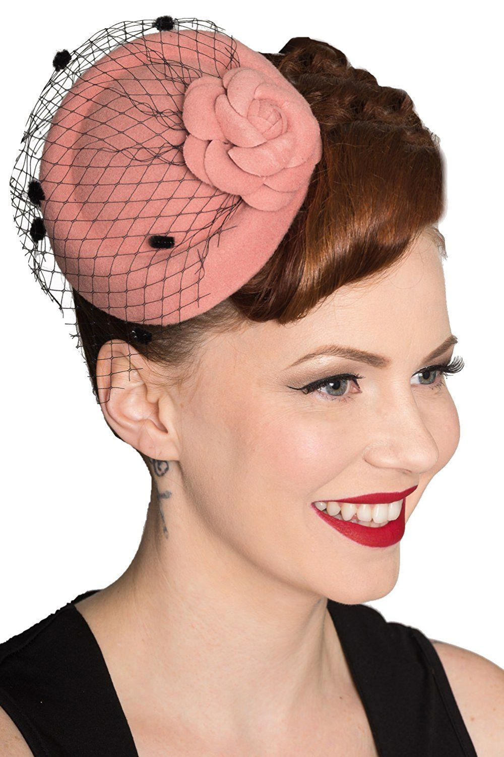1950s Hats  Banned Marilyn Vintage Fascinater - Black Pink or Red eb6bdee2a09