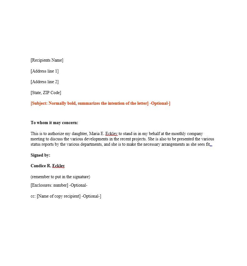 authorization letter sample email form fill online printable - letter of authorization